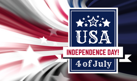 Congratulations on America s Independence Day, July 4 - the US national holiday on a flag background. Vector