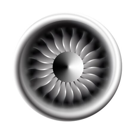 Turbine engine jet for airplane with fan bladesin a circular motion. Vector illustration for aircraft industry. Close-up on a white