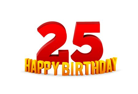 Congratulations on the 25th anniversary, happy birthday with rounded 3d text and shadow isolated on white background. Vector