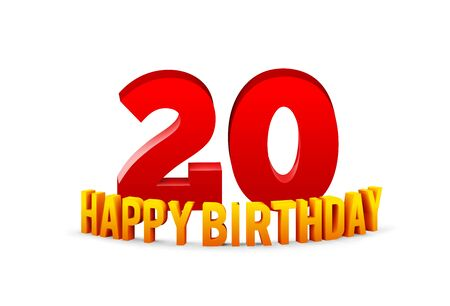 Congratulations on the 20th anniversary, happy birthday with rounded 3d text and shadow isolated on white background. Vector