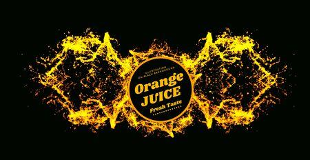 Orange juice splash Vector illustration on black background. Pineapple, Papaya, Mango Juice Stock fotó - 129774138