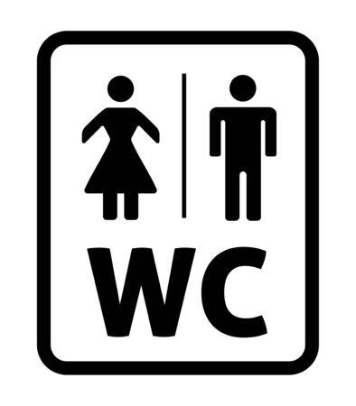 Illustartion de vector masculino y femenino. Signo de aseo, WC Ilustración de vector