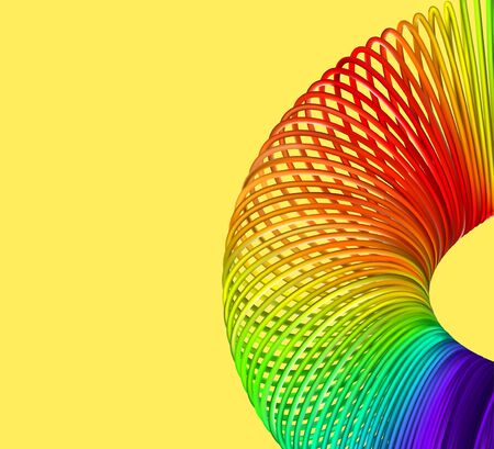 Rainbow spiral spring vector illustration on yellow