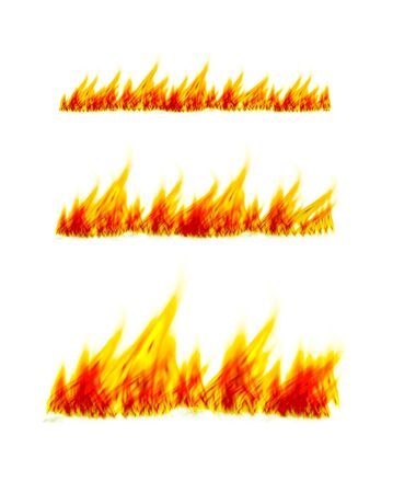 Fiery flames on a white background. Fire bonfire. illustration