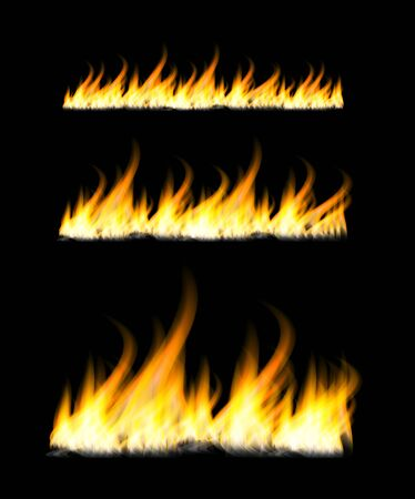 Fiery flames on a dark background. Fire bonfire. Vector illustration