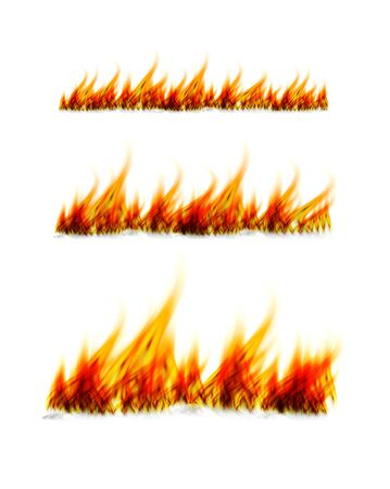 Fiery flames on a white background. Fire bonfire. Vector illustration 写真素材