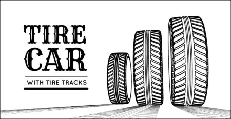 Car tires with tire marks on a white background. Hand-drawn design