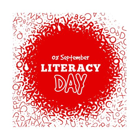 Literacy Day - September 8th. Vector illustration with letters on background.
