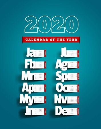 Paper cut calendar with shadow. Yearly 2020 vector calendar on blue background Ilustração