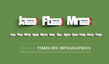 Monthly timeline infographics. Paper cut vector illustration
