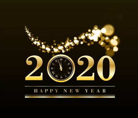 Happy New Year 2020 with gold particles and a clock in the number zero. Vector golden illustration 矢量图像