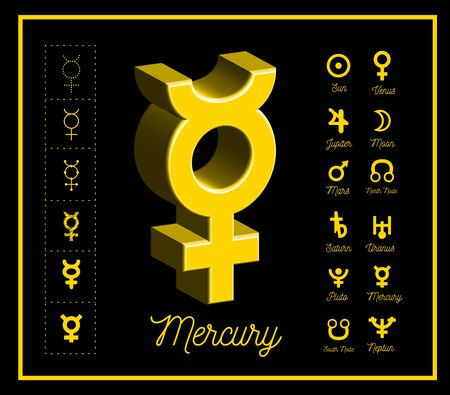 Mercury planet sign with other astrological symbols of the planets on black background. Vector