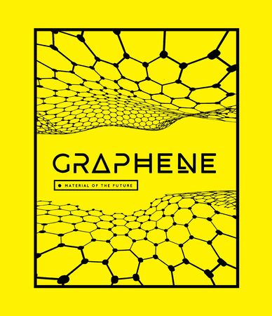 Graphene, a molecular network of hexagons connected together. Chemical network. Carbon, nanomaterials. Vector illustraion