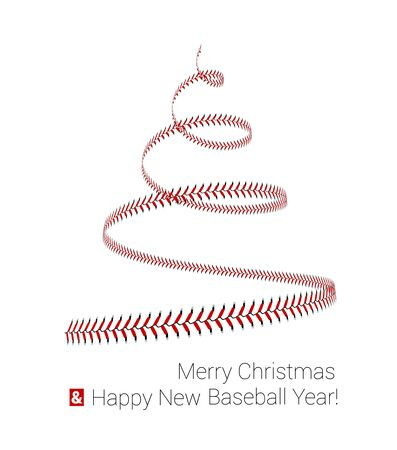Christmas tree twisted in the form of lacing from a baseball. Vector 3d illustration on a white background. Stock Illustratie