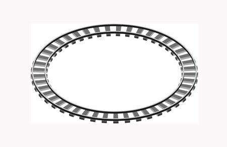 Circle shaped railway railway going forward. 3d vector illustration on a white Ilustração