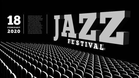 Jazz music festival. Concert Hall. Vector 3d illustration. Vektoros illusztráció