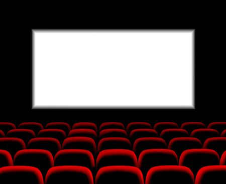 Hall for watching movies. Cinema. Concert hall. Vector 3d illustration on dark background