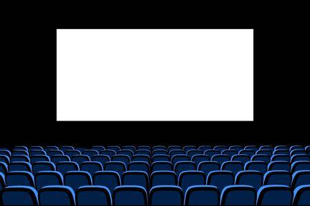 Hall for watching movies. Cinema. Concert hall. Vector 3d illustration on dark background Vecteurs