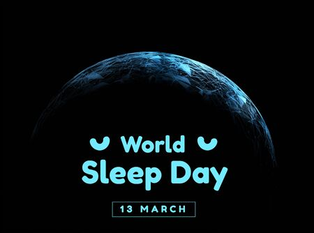 World sleep day. Event that takes place annually. The celebration of sleep and a call to action to study important questions about the effects of sleep on humans. Vector  イラスト・ベクター素材