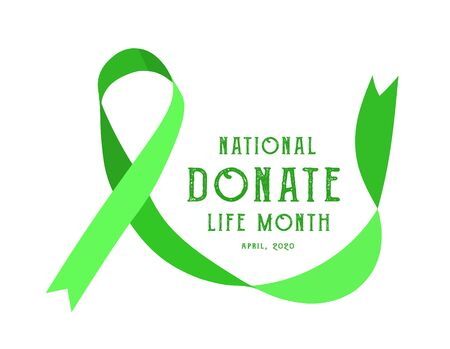 National donate life month. Vector illustration with green ribbon on light background  イラスト・ベクター素材