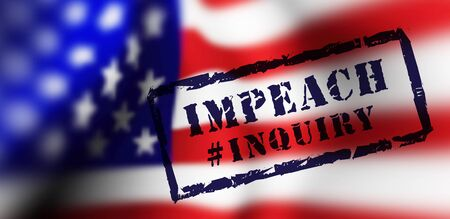 Impeachment stamp on american flag background. Vector