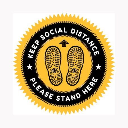 Sign for maintaining social distance with imprints of a pair of shoes on the background. Against the spread of coronavirus. Vector