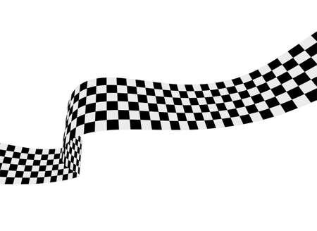 Checkered racing flag, ribbon. Vector illustration on white background 向量圖像