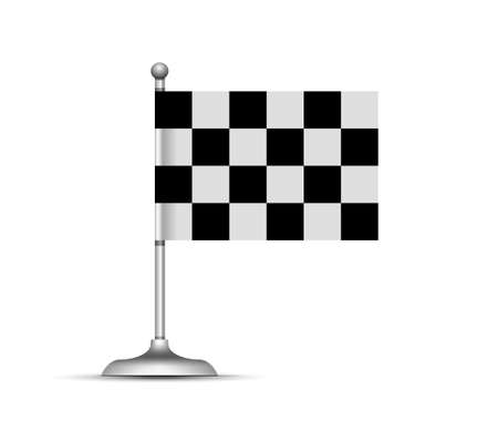 Checkered racing flag. Vector illustration on white background