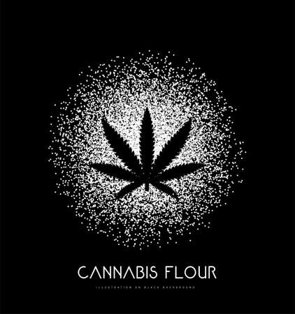 Cannabis flour with leaf. Vector illustration on black background