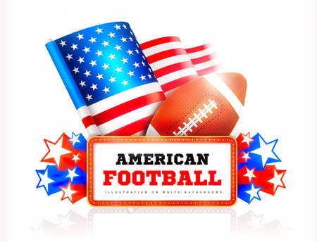 Marquee board announcement with amercain football ball and US flag on white. Illustration on white Stock Photo