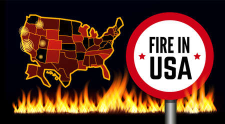 Fire in USA infographic map. Vector illustration on black