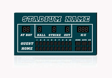 Electronic baseball scoreboard with blank Home and Visitor space. Vector illustration on white background