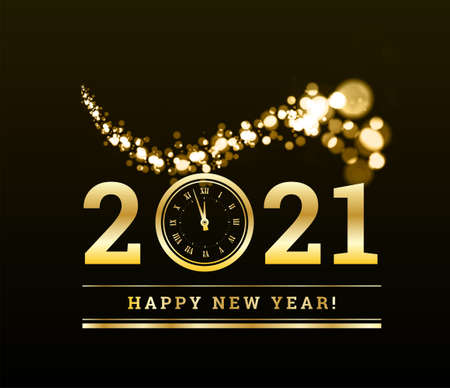 Happy New Year 2021 with gold particles and a clock in the number zero. Vector golden illustration on a dark background. 矢量图像