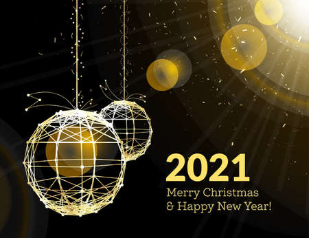 New Year's Christmas balls, on luminous golden ribbons, in the style of art deco. Geometric golden spheres, in the form of points connected by lines with glitters. Gold on dark style. Vector illustration