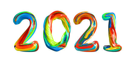 Colorful 3d text 2021. Congratulations on the happy new year 2021