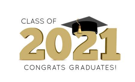 Graduation Class of 2021 with cap. Vector illustration