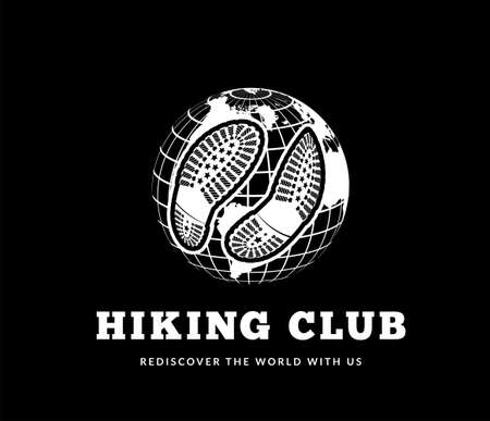 Hiking club vector illustration with footprints on world globe background