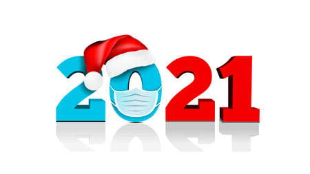 Happy New Year 2021. Figures under the hat of Santa Claus and medial face mask. Against coronavirus, covid-19. Vector illustration on white background