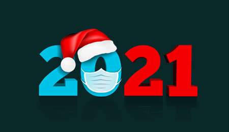 Happy New Year 2021. Figures under the hat of Santa Claus and medial face mask. Against coronavirus, covid-19.
