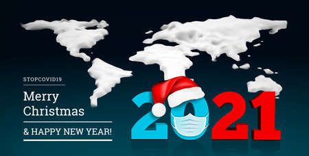 Happy New Year 2021 on the background of a snowy ice world map. Numbers 2021 under the hat of Santa Claus and medial face mask. Against coronavirus, covid-19. Stock Illustratie