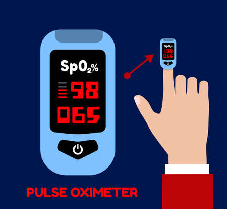 Pulse oximeter on the index finger. Blood oxygenation measurement. Vector illustration in flat style on dark blue background