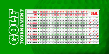 Golf scoreboard, vector illustration with close-up golf ball on background