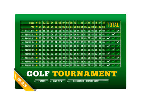 Golf scoreboard, vector illustration with golf ball on white background