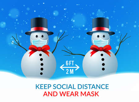 two snowmen at a safe distance and wearing medical masks. Vector illustration against the spread of coronavirus, covid-19 向量圖像