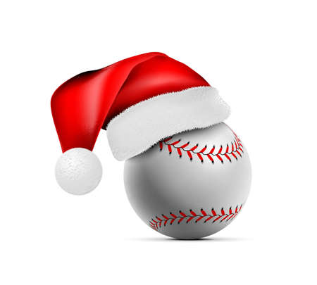 Baseball ball with Santa Claus hat. Vector illustration isolated on white background 向量圖像