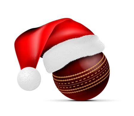 Cricket ball with Santa Claus hat. Vector illustration isolated on white background