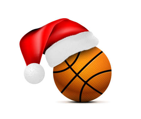 Basketeball ball with Santa Claus hat. Vector illustration isolated on white background