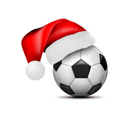 Soccer ball with Santa Claus hat. Football ball. Vector illustration isolated on white background