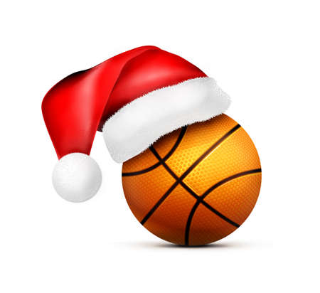 Basketball ball with Santa Claus hat. Illustration isolated on white background