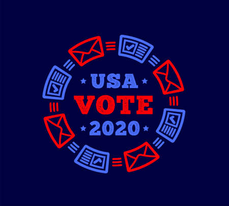 Vote 2020 in the United States. Mail plus regular voting. Vector illustration on dark blue background